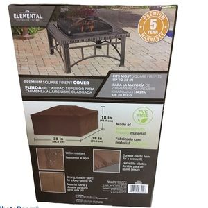 "Elemental Brown Water Resistant 38"" Square Firepit"